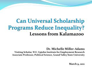 can universal scholarship programs reduce inequality