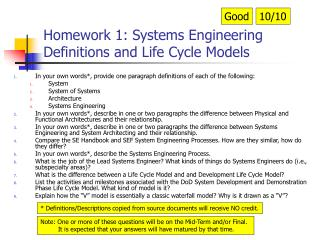 Homework 1: Systems Engineering Definitions and Life Cycle Models