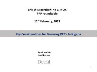 Key Considerations for Financing PPP s In Nigeria
