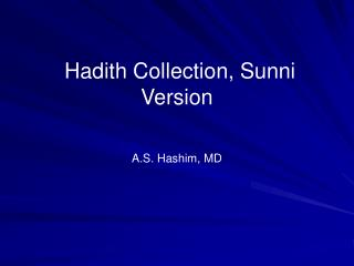 Hadith Collection, Sunni Version