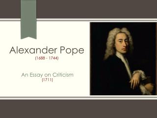 An Essay on Criticism 1711