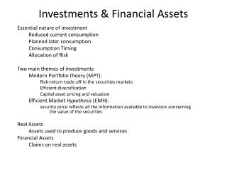 Investments  Financial Assets
