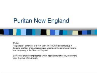 Puritan New England