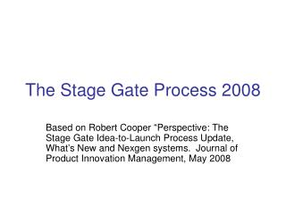 the stage gate process 2008