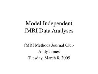 Model Independent  fMRI Data Analyses