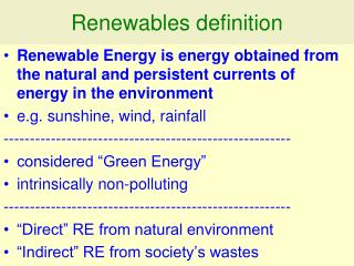 Renewables definition