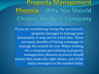 Phoenix property management