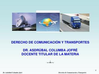 DERECHO DE COMUNICACI N Y TRANSPORTES  DR. ASDR BAL COLUMBA JOFR  DOCENTE TITULAR DE LA MATERIA