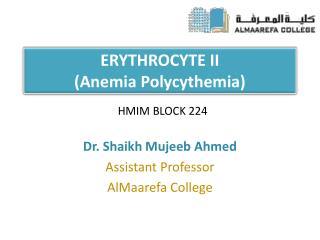 ERYTHROCYTE II Anemia Polycythemia
