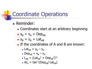 Coordinate Operations
