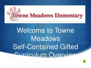 Welcome to Towne Meadows Self-Contained Gifted Curriculum Overview