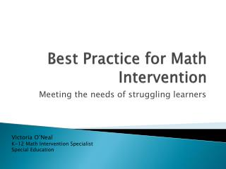 Best Practice for Math Intervention