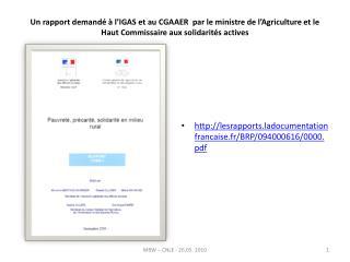 Un rapport demand    l IGAS et au CGAAER  par le ministre de l Agriculture et le Haut Commissaire aux solidarit s active
