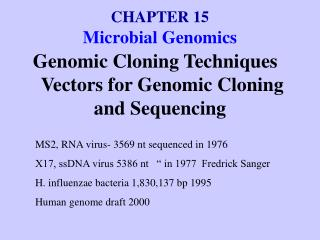 CHAPTER 15 Microbial Genomics