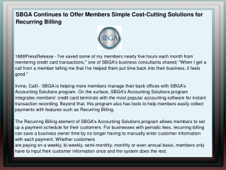 SBGA Continues to Offer Members Simple Cost-Cutting Solution