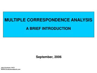 MULTIPLE CORRESPONDENCE ANALYSIS A BRIEF INTRODUCTION