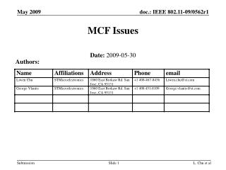 MCF Issues