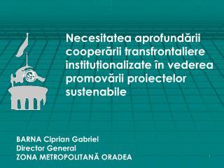 Necesitatea aprofundarii cooperarii transfrontaliere institutionalizate  n vederea promovarii proiectelor sustenabile