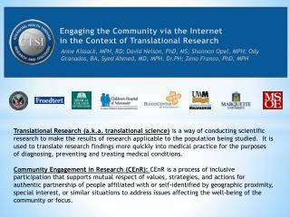 Engaging the Community via the Internet  in the Context of Translational Research