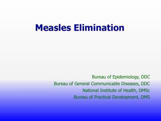 Measles Elimination