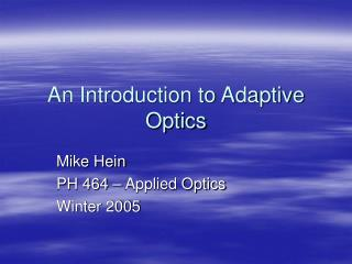 an introduction to adaptive optics