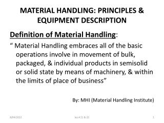 MATERIAL HANDLING: PRINCIPLES  EQUIPMENT DESCRIPTION