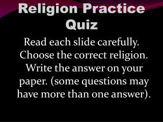 Religion Practice Quiz
