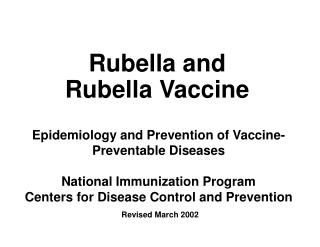 Rubella and Rubella Vaccine