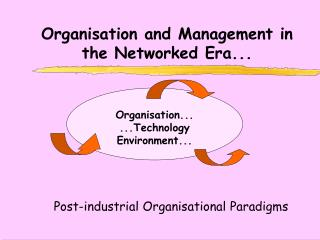 Organisation and Management in the Networked Era...