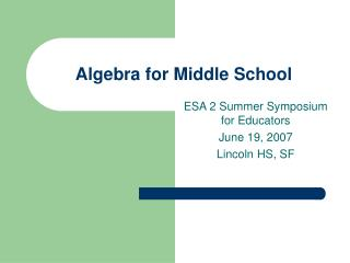 Algebra for Middle School