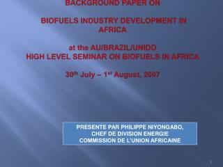 Background Paper on   Biofuels Industry Development in Africa  at the AU