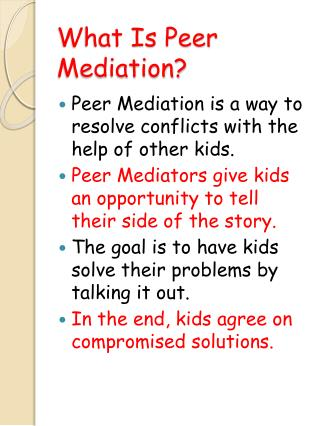 What Is Peer Mediation