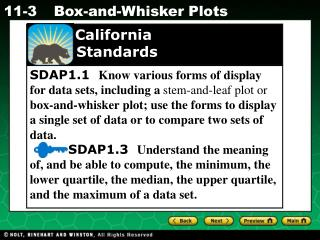SDAP1.1  Know various forms of display for data sets, including a stem-and-leaf plot or box-and-whisker plot; use the fo