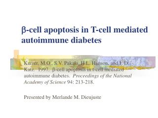 -cell apoptosis in T-cell mediated autoimmune diabetes