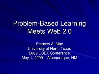 Problem-Based Learning Meets Web 2.0