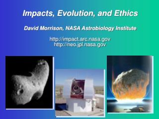 Impacts, Evolution, and Ethics  David Morrison, NASA Astrobiology Institute  impact.arc.nasa neo.jpl.nasa