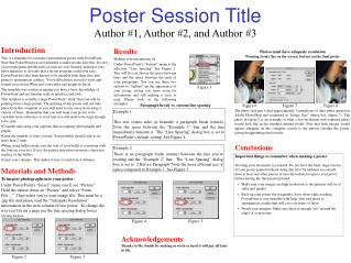 Poster Session Title