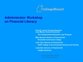 administrator workshop on financial literacy