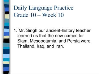 Daily Language Practice Grade 10   Week 10