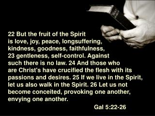 22 But the fruit of the Spirit  is love, joy, peace, longsuffering, kindness, goodness, faithfulness,  23 gentleness, se