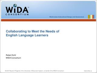 Collaborating to Meet the Needs of  English Language Learners