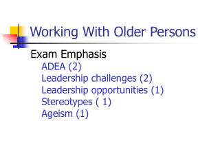 Working With Older Persons