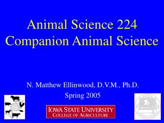 Animal Science 224 Companion Animal Science
