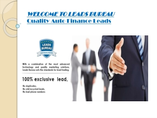 Special Finance Leads, a Key to Maximize Sales Rate