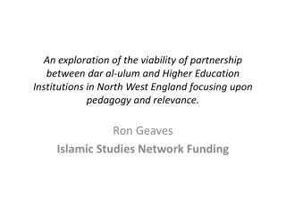 An exploration of the viability of partnership between dar al-ulum and Higher Education Institutions in North West Engla