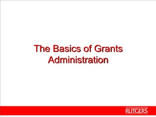 the basics of grants administration
