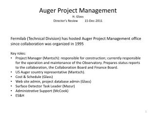 Auger Project Management H. Glass Director s Review 15-Dec-2011