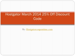 Hostgator March 2014 25% Off Discount Code