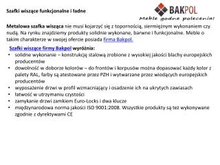 Szafy wiszace Bakpol