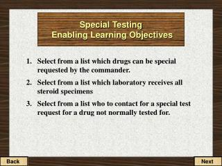 Special Testing  Enabling Learning Objectives